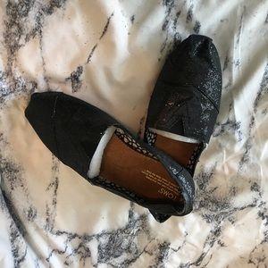 Authentic Women's Tom's black glitter Never worn